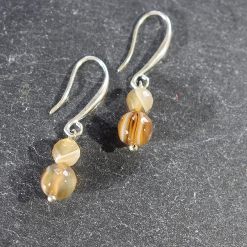 Boucle d'oreille en agate. - photo vitrine